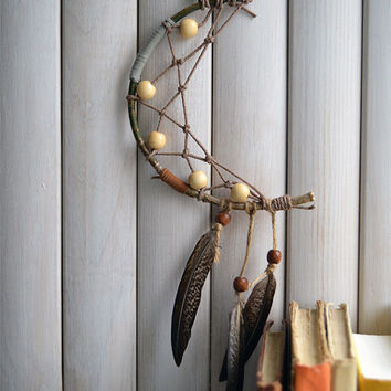 Ethnic Moon Dreamcatcher, Native American Home Decor, Wall Hangi