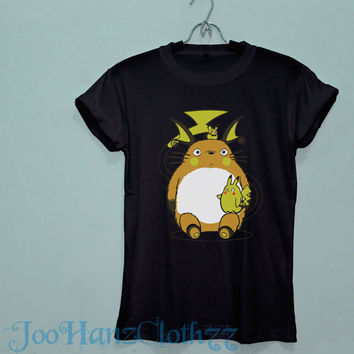 Studio ghibli shirt black and white cotton tshirt My neighbour totoro tshirt totoro shirt JO12
