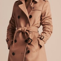 Wool Cashmere Trench Coat in Camel - Women | Burberry