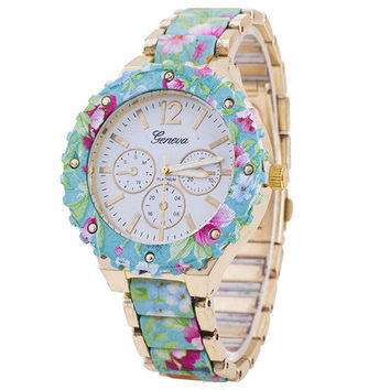 Womens Girls Diamond Casual Sports Watches Mint Floral Strap Watch + Beautiful Gift Box