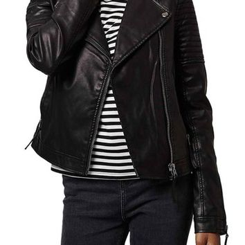 Topshop Quilted Faux Leather Biker Jacket (Petite) | Nordstrom