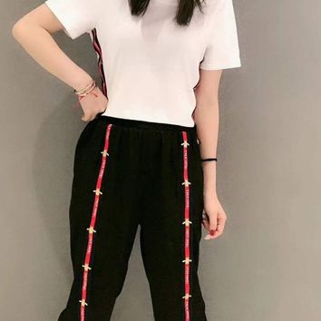 Woman's Leisure  Fashion Letter Printing Spell Color Short Sleeve Trousers Two-Piece Set Casual Wear