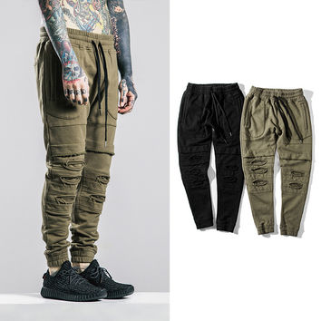 2016 Biker Joggers Slim Fit Skinny Sweatpants