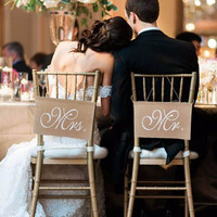 Wedding Decor Mr. & Mrs. Natural Rustic Burlap Chair Banners