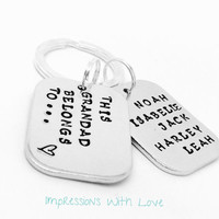 Personalised keyring, hand stamped keychain, this grandad belongs to / dad gifts / Father's Day / gifts for men / daddy gifts / for him