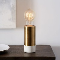 Two-Toned Pedestal Table Lamp - Brass/White Marble