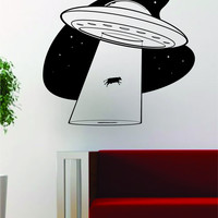 UFO Cow Abduction Alien Design Outer Space Decal Sticker Wall Vinyl Art Home Room Decor