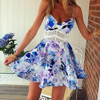 Trendy Spaghetti Strap Floral Print Dress