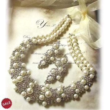 Ivory Pearl Crystal Cluster Bridal Jewelry Set