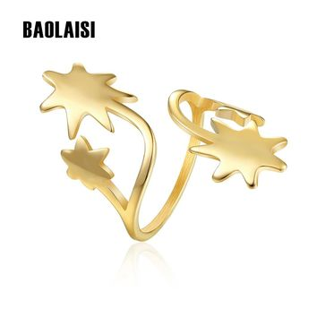 BAOLAISI 2018 New Four Stars Punk Rings For Women Wedding Stainless Steel Engagement Rings For Girl Fashion Jewelry Party Rings