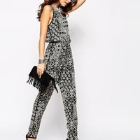 New Look | New Look Embellished Neck Printed Jumpsuit at ASOS