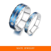 "Blue Charm ""forever love"" crystal CZ diamond titanium steel Engagement&Wedding /Anniversary//Promise/Couple/Lovers ring for Best Romantic Gift(MATE R173)"