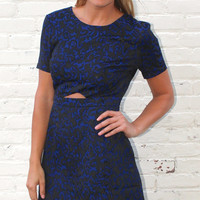 Short Sleeve Damask Cut Outs Dress - Black/Navy Blue
