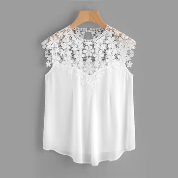 Keyhole Back Daisy Lace Shoulder Shell Top Summer Blouses for Women White Cap Sleeve 	Elegant Blouse