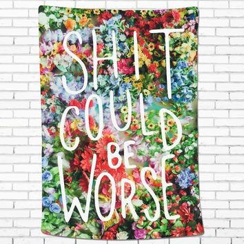 Watercolor Wall Tapestry Flower Tapestry Floral Words Tapestry Wall Hanging Tapestry Wall Decor Inspirational Quote Tapestry