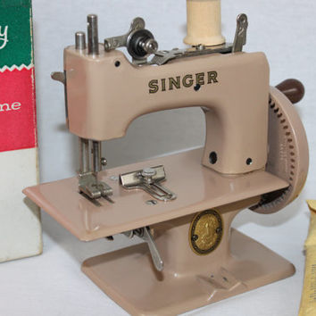 Vintage 1950's Singer Sewhandy Smooth Tan Finish Model No. 20 Child's Sewing Machine in the Original Box
