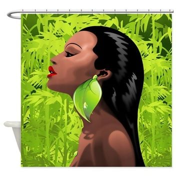 Woman African Beauty and Bamboo Shower Curtain