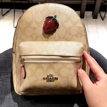 COACH 2019 new strawberry logo men and women shoulder bag