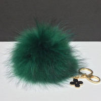 Fur Pom Pom keychain luxury bag charm pendant clover flower keychain keyring in deep forest green with natural dark tips