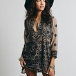 Free People Womens Embroidered Sheer Tunic - Taupe / Black