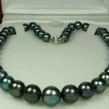 9-10Mm Tahitian Black Pearl Necklace Aaa