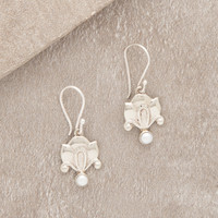 Pearl Drop Lotus Earrings