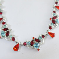 Vintage Crystal Necklace Aqua Orange Red Sparkling Silver Tone   J19