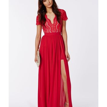 Red lace maxi dresses