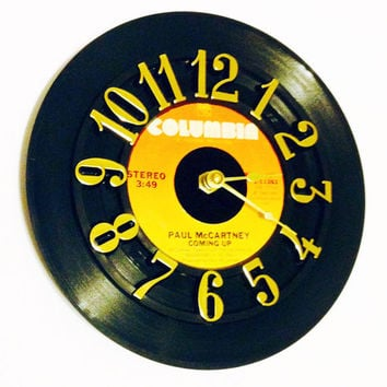 Clock, Record Clock, Vinyl Record Clock, Wall Clock, Paul McCartney Record, Recycled Record, Upcycle, Battery & Wall Hanger included, #85