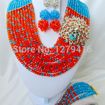 2015 Earrings Wedding Accessories Fashion Nigerian African Bead Necklace Set Indian Wedding Plated Jewelry Crystal Beads A2055