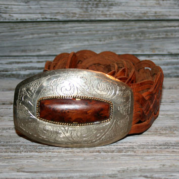Womens Vintage Braided Leather Belt Brown Western Tribal Bohemian Moroccan Cognac Etched Silver Buckle Tiger Eye Buckle Medium Large Chicos