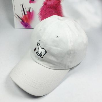 Day-First™ White Polar Bear Embroidered Baseball Cap Hat