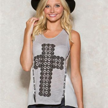 Cross Chiffon Graphic Tank