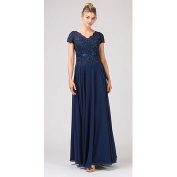 Lace Bodice A-Line Long Formal Dress Short Sleeves Navy Blue