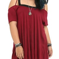 Burgundy & Black Spine Back Cold Shoulder Top Plus Size