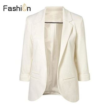 11 Colors 2018 Autumn Slim Fit Women Blazers Formal Jackets Office Lady Work Open Front Notched OL Ladies Blazer Coat Plus Size