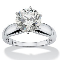 3.50-Carat Round Cubic Zirconia Platinum over Sterling Silver Solitaire Bridal Engagement Ring