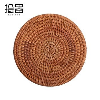 6pcs Handmade Bamboo Cup Coaster Cup Mat Cup Cushion Kung Fu Coffee Tea set Accessories Table Placemats Mug Pads Tea Cup Holder