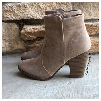"CLOSEOUT! ""Style and Flare"" Always Faithful Beige Heel Bootie Boots"