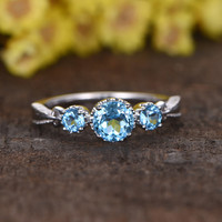 Blue Topaz Three Stone Ring 14k White Gold Milgrain Bezel Set