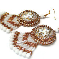 Long dangle Earrings, Large Earrings, Beadwork White and Golden Earrings, Bead Embroidered Jewelry, Czech glass button