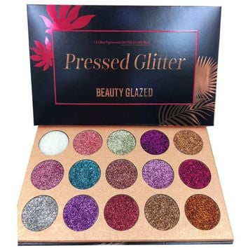 BEAUTY GLAZED 15 Color Eyeshadow Palette Glitter Pressed Glitters Makeup Palette Diamond Cosmetic Magnet Palette Dropshipping