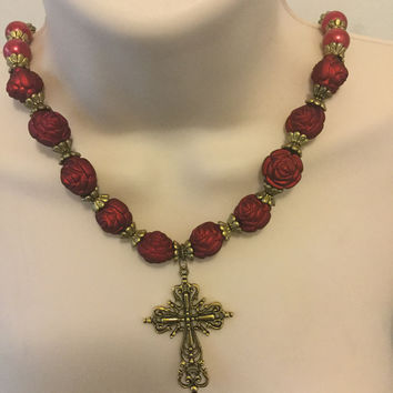 Red and Bronze Cross Necklace/Free Shipping