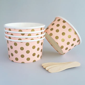 Golden Dots Ice Cream Bowls