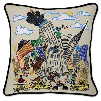 Empire State Hand Embroidered Pillow
