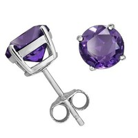 Sterling Silver Round Amethyst Earrings