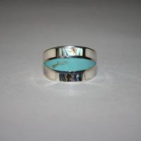 Large Turquoise and Sea Shell Stone Ring Vintage Sterling Silver Ring Size 6 - free ship US