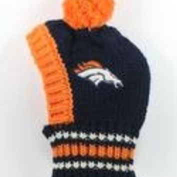 NFL Licensed Denver Broncos Knit Pet Pom Beanie Hat (Small up to 20lbs)