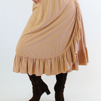 SALE - Vintage 1970s Warm Nude Ruffled Boho Wrap Skirt. Southwestern. Hippie. Fall