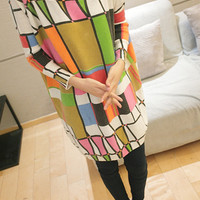 Color Geometric Lattice Bat-like Shirt Long Sleeve Sweater,Cheap in Wendybox.com